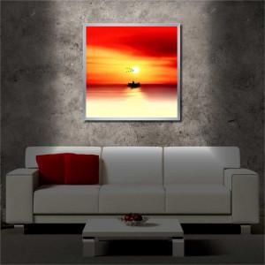 Tablou iluminat LED cu rama metalica Sunset on the Sea (60 x 60 cm)