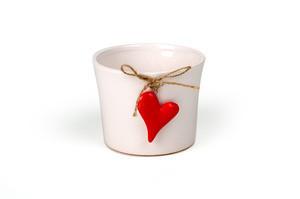 Vas ceramica, alb, inimioara, D10 cm