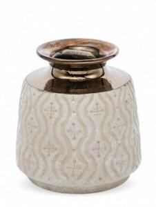 Vaza ceramica cu model, crem, 18x16 cm