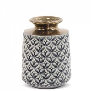 Vaza ceramica cu model, gri/bronz, 21x16 cm