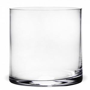 Vaza de sticla transparenta, cilindru, 15x15 cm