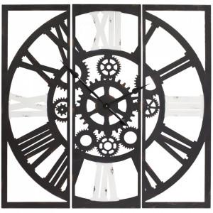Ceas metalic de perete, din 3 parti, negru/alb, 99x99 cm