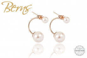 Cercei, 2 perle Swarovski, alb/rosegold, marime M
