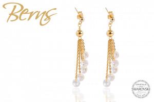 Cercei, 5 cristale Swarovski, auriu