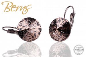 Cercei, cristale Swarovski, cu agatatoare, bronz, cu model, diametru 14mm