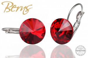 Cercei, cristale Swarovski, cu agatatoare rosu, diametru 14mm