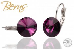 Cercei, cristale Swarovski, cu agatatoare, violet, 12 mm
