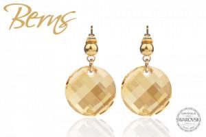 Cercei, cristale Swarovski, forma rotunda, auriu