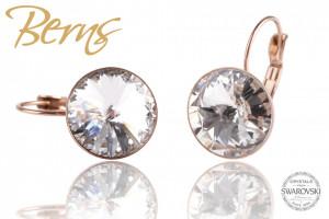 Cercei, cristale Swarovski, Rosegold, cu agatatoare, 14mm