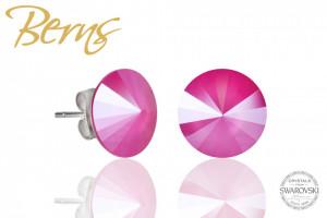 Cercei, cristale Swarovski, roz, diametru 12 mm