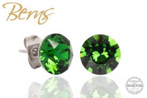 Cercei, cristale Swarovski, verde, diametru 10mm