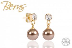Cercei, perla + cristale Swarovski, bronz/auriu, 8mm