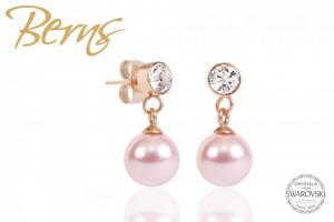 Cercei, perla + cristale Swarovski, roz/auriu, 8mm
