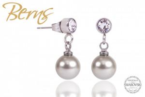 Cercei, perle + cristale Swarovski, gri, 8 mm