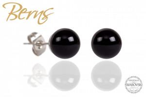 Cercei, perle Swarovski, negru, 8 mm