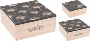 Cutie de lemn cu capac, model frunze ginko, S