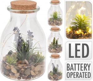 Decoratiune borcan cu planta artificiala si LED
