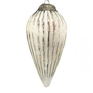 Decoratiune de sticla glob conic, de agatat, argintiu, 34 cm