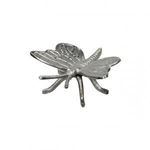 Decoratiune metalica, fluture argintiu, 12x12 cm