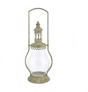 Felinar, tip lampa, verde antichizat, 44x18 cm