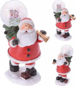 Figurina Santa cu glob zapada, 13 cm