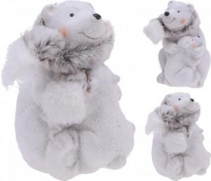 Figurina urs polar cu copil, 12 cm