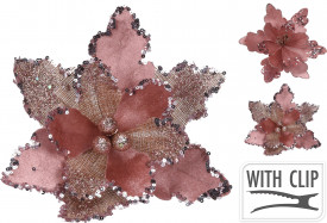 Floare artificiala, cu clips, Craciunita de catifea, 20 cm