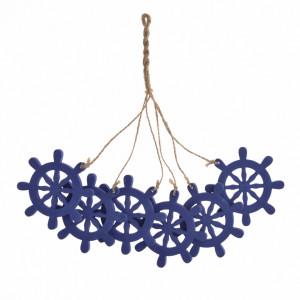 Ghirlanda 6 timone de lemn, albastru, 7 cm