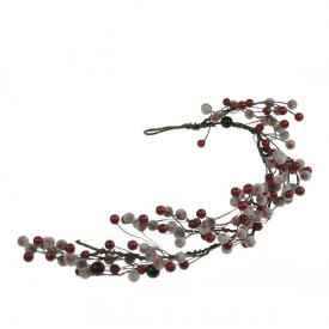 Ghirlanda, bobite rosii cu zapada, 52 cm