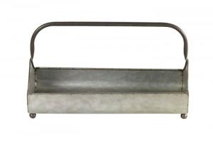 Ghiveci metalic gri, tip tava, cu maner, dimensiune 35.3x18x21 cm
