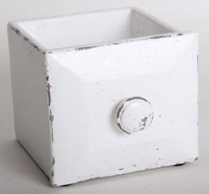 Ghiveci piatra, model sertar, alb, dimensiune 15x13 cm