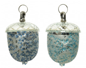 Glob de sticla forma ghinda, argintiu/albastru, 7x10 cm