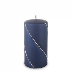 Lumanare cilindru, Bolero, navy blue, 14x7 cm