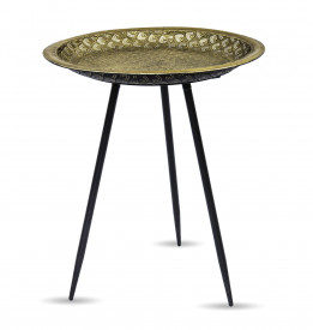 Masuta metalica de cafea, aurie, 57x49.5 cm