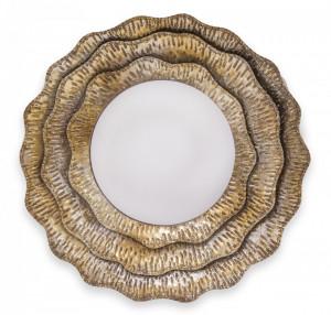 Oglinda de perete, cadru metalic, auriu antichizat, 55x4 cm