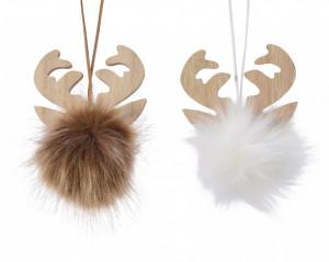 Ornament, agatatoare, cap de ren cu blanita, 8 cm