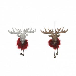 Ornament cap ren, rosu, 6x2.5x4.5 cm