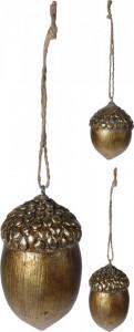 Ornament cu agatatoare, ghinda aurie, 7 cm