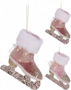 Ornament cu agatatoare, patina roz, 12 cm