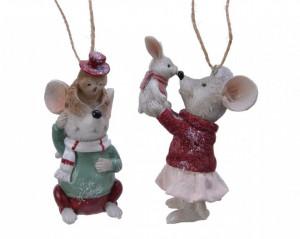 Ornament cu agatatoare soricel, rosu/verde, 10 cm