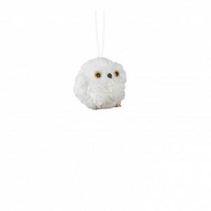 Ornament textila, bufnita, alba, 8cm