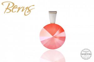 Pandantiv, cristal Swarovski, coral, diametru 12 mm