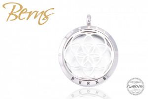 Pandativ aromaterapie, cristale Swarovski, model cercuri, argintiu