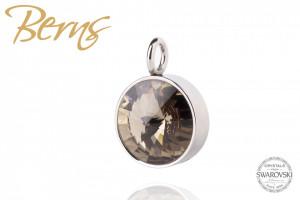 Pandativ, cristale Swarovski, margine argintie, maro