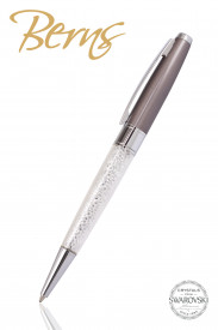 Pix Swarovski, alb/gri, diametru 10 mm