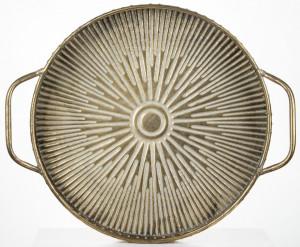 Platou metalic cu manere, auriu antichizat, 6x47x39.5 cm