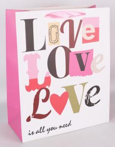 Punga de cadou, 23x18cm, Love,Love,Love