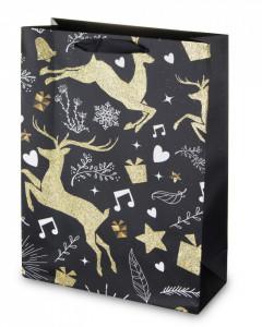 Punga de cadou, neagra cu reni, 40x30 cm