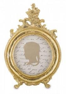 Rama foto rotunda, auriu antichizat, 15 x 10 cm
