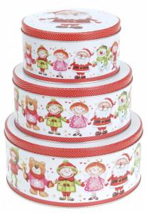 Set 3 cutii metalice, rotunde, model copii